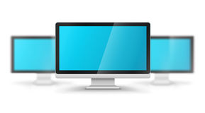 Row of computer displays Stock Photo