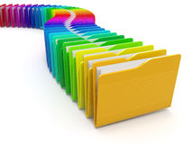Row of computer folders. Rainbow. 3d Stock Photos