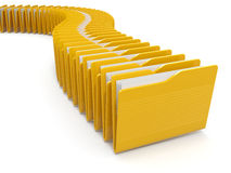 Row of computer yellow folders Royalty Free Stock Photography
