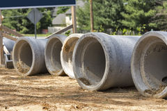 Row of concrete drainage culverts Royalty Free Stock Images