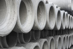 Row of concrete pipes Royalty Free Stock Image