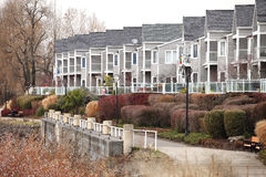 Row of condominiums. Row of condominiums along the Columbia river in Vancouver Washington state Royalty Free Stock Photo
