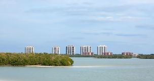 A row of Condos and Timeshare on the West Coast of Florida, USA. Waterfront condominiums and timeshares on Estero Island, Florida, USA stock images