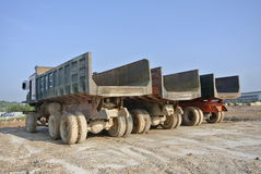 Row of construction lorry at the construction site Royalty Free Stock Photo