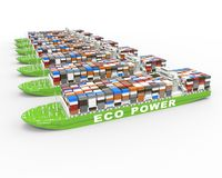 A row of Container ship with green fuel concept Royalty Free Stock Image