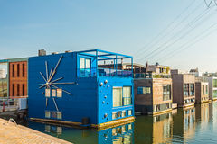 Row of contemporary house boats in the IJburg district in Amster Stock Photos