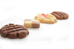 Row of cookies. On white background Royalty Free Stock Image