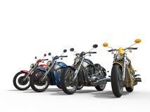 Row of cool vintage bikes Royalty Free Stock Images