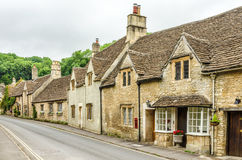 Stone homes on streets of Castle Combe Village in Wiltshire, England Royalty Free Stock Photos