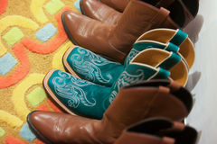 Cowboy Boots. A row of cowboy boots royalty free stock photography