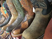A row of cowboy boots Royalty Free Stock Photos