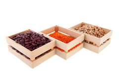 Row crates with legumes Royalty Free Stock Photo