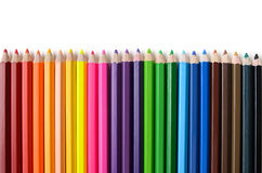 Row of crayon. On white background Royalty Free Stock Images