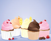 Row of cup cakes. An illustration of a row of cup cakes decorated with cherries lemon orange chocolate and strawberries on a pale blue background stock illustration