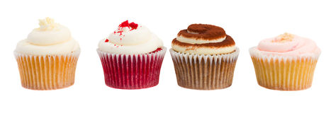 Row of  cupcakes on white Royalty Free Stock Image