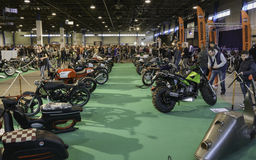 Row of custom motorcycles. 11th Car and Motorcycle Tuning Show in Hungexpo, Budapest, Hungary. Photo taken to: March 19th, 2016 Royalty Free Stock Images