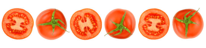 Row Of Cut Fresh Tomatoes Royalty Free Stock Photography