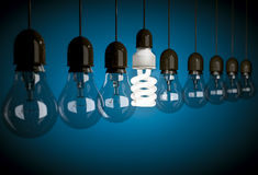Row of dark incandescent light bulbs with one energy saving bulb Royalty Free Stock Images