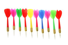 Row of Darts. On White Background Stock Image