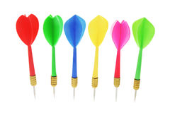 Row of Darts. On White Background Royalty Free Stock Image