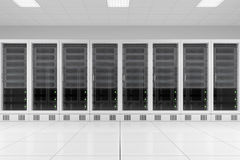 Row of data racks in server room Royalty Free Stock Images