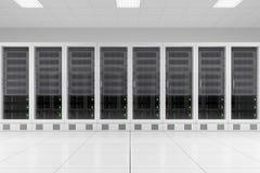 Row of data racks in server room. Three data racks in server room bright white Royalty Free Stock Images