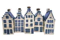 Row of Delft blue houses royalty free stock images