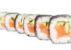 Row of delicious maki rolls Royalty Free Stock Photography