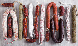 Row of delicious sausages Stock Photography