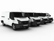Row of delivery vans vector illustration