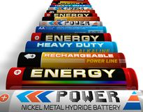 Row of different AA batteries. Row of different type AA batteries on white surface Stock Image