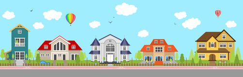 Row of different colorful family houses House home exterior vector