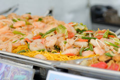 Row of dishes on hot plate at Chinese food stall Royalty Free Stock Image