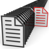 Row of documents sign. Searching concept. Row of documents sign. Information searching concept. Computer generated image Royalty Free Stock Photography