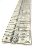 Row of Dollar Bills Royalty Free Stock Photos