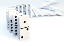 Row of dominoes collapsing. 3D concept image stock illustration