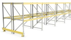 Row of double sided pallet racks Stock Image