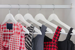 Row of dress hanging on coat hanger Stock Photography
