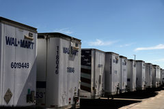 Row of Dropped Wal-Mart Trailers. 