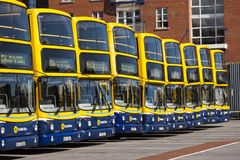 Row of Dublin Buses in Dublin, Ireland Stock Photos