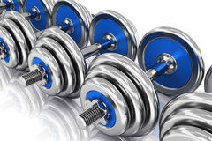Row of dumbbells. Creative abstract sport, fitness training and healthy lifestyle concept: group of blue shiny metal dumbbells arranged in row isolated on white royalty free illustration