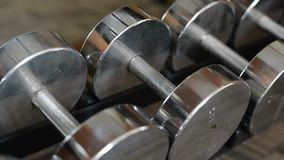 Row of dumbbells in sports club.  stock video