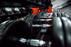 Row of dumbbells Royalty Free Stock Image