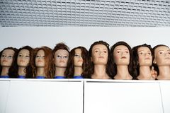A row of dummies for the hairdresser Royalty Free Stock Photo