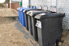Row of dustbins Royalty Free Stock Photography