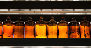Row of dusty brown glass bottles on a shelf Stock Photography