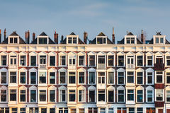 Row of Dutch old white houses Royalty Free Stock Images