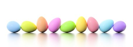 A row of dyed easter eggs. 3d illustration of a row of dyed easter eggs royalty free illustration