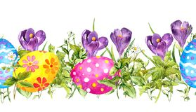 Row of Easter eggs - crocus flowers and fresh green grass. Watercolor seamless banner, border. Row of Easter eggs with crocus flowers and fresh green grass royalty free illustration