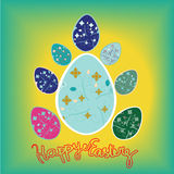 Row of Easter eggs in Fresh Green Grass Background. Easter Eggs for postcard.poster.banner with flora pattern Royalty Free Stock Photos
